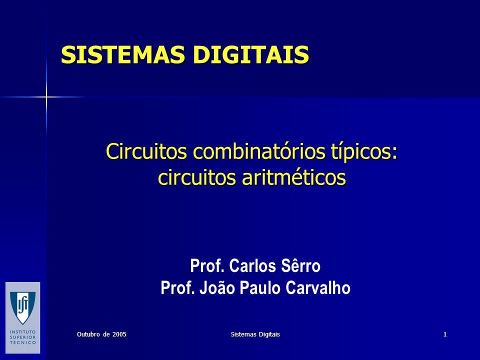 Outubro de 2005 Sistemas Digitais 1 Circuitos combinatórios típicos: circuitos aritméticos Prof. Carlos Sêrro Prof. João Paulo Carvalho SISTEMAS DIGIT