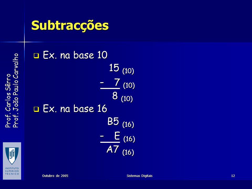 Prof. Carlos Sêrro Prof. João Paulo Carvalho Outubro de 2005Sistemas Digitais12 Subtracções Ex. na base 10 Ex. na base 10 15 (10) - 7 (10) - 7 (10) 8