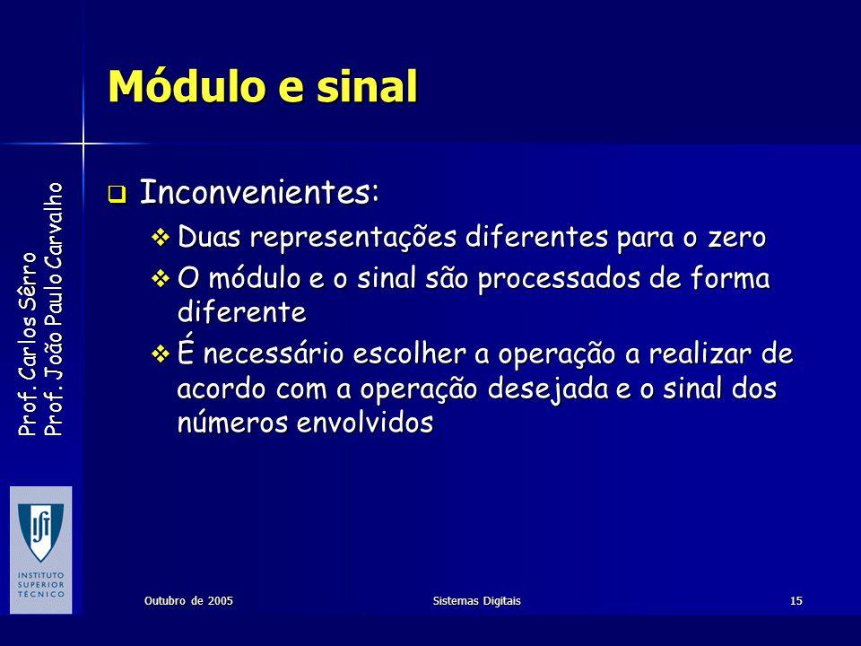 Prof. Carlos Sêrro Prof. João Paulo Carvalho Outubro de 2005Sistemas Digitais15 Módulo e sinal Inconvenientes: Inconvenientes: Duas representações dif