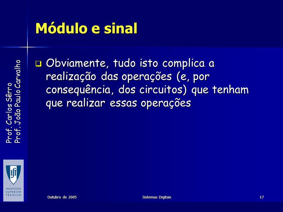 Prof. Carlos Sêrro Prof. João Paulo Carvalho Outubro de 2005Sistemas Digitais17 Módulo e sinal Obviamente, tudo isto complica a realização das operaçõ