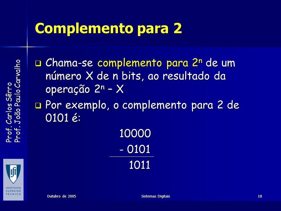 Prof. Carlos Sêrro Prof. João Paulo Carvalho Outubro de 2005Sistemas Digitais18 Complemento para 2 Chama-se complemento para 2 n de um número X de n b