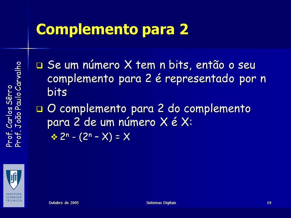Prof. Carlos Sêrro Prof. João Paulo Carvalho Outubro de 2005Sistemas Digitais19 Complemento para 2 Se um número X tem n bits, então o seu complemento