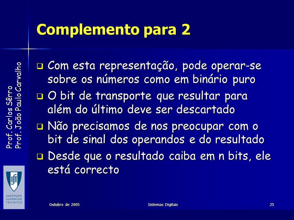 Prof. Carlos Sêrro Prof. João Paulo Carvalho Outubro de 2005Sistemas Digitais25 Complemento para 2 Com esta representação, pode operar-se sobre os núm