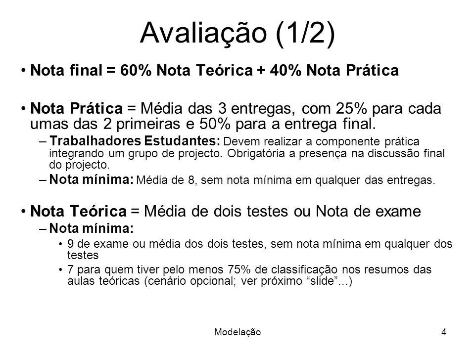 Modelação4 Avaliação (1/2) Nota final = 60% Nota Teórica + 40% Nota Prática Nota Prática = Média das 3 entregas, com 25% para cada umas das 2 primeiras e 50% para a entrega final.
