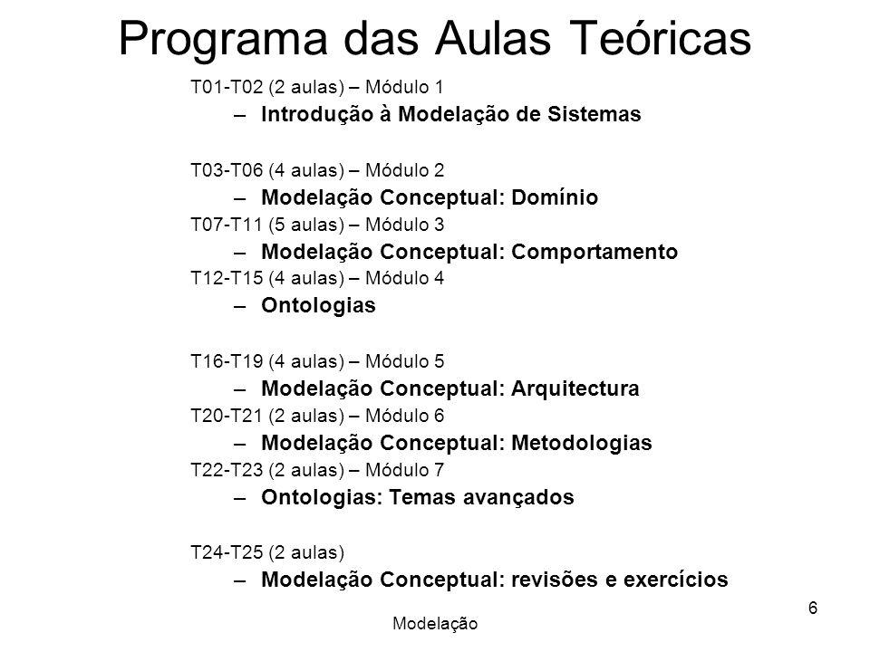 Modelação 6 Programa das Aulas Teóricas T01-T02 (2 aulas) – Módulo 1 –Introdução à Modelação de Sistemas T03-T06 (4 aulas) – Módulo 2 –Modelação Conceptual: Domínio T07-T11 (5 aulas) – Módulo 3 –Modelação Conceptual: Comportamento T12-T15 (4 aulas) – Módulo 4 –Ontologias T16-T19 (4 aulas) – Módulo 5 –Modelação Conceptual: Arquitectura T20-T21 (2 aulas) – Módulo 6 –Modelação Conceptual: Metodologias T22-T23 (2 aulas) – Módulo 7 –Ontologias: Temas avançados T24-T25 (2 aulas) –Modelação Conceptual: revisões e exercícios