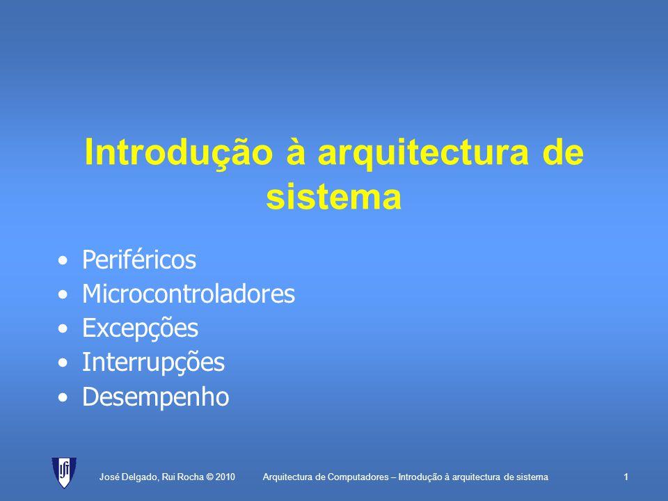 Arquitectura de Computadores – Introdução à arquitectura de sistema1 Introdução à arquitectura de sistema José Delgado, Rui Rocha © 2010 Periféricos Microcontroladores Excepções Interrupções Desempenho