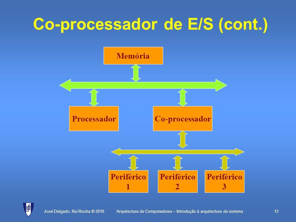 Arquitectura de Computadores – Introdução à arquitectura de sistema13 Co-processador de E/S (cont.) José Delgado, Rui Rocha © 2010 Memória ProcessadorCo-processador Periférico 1 Periférico 2 Periférico 3