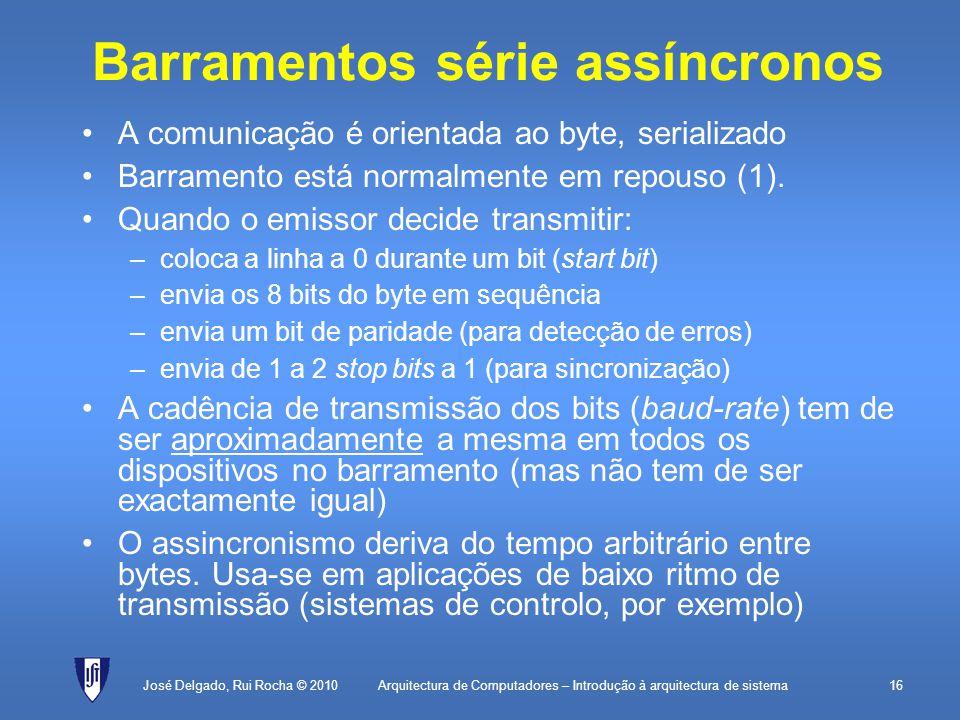 Arquitectura de Computadores – Introdução à arquitectura de sistema16 Barramentos série assíncronos A comunicação é orientada ao byte, serializado Barramento está normalmente em repouso (1).