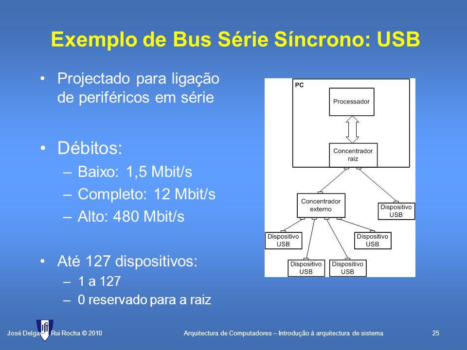 Arquitectura de Computadores – Introdução à arquitectura de sistema25 Exemplo de Bus Série Síncrono: USB Projectado para ligação de periféricos em série Débitos: –Baixo: 1,5 Mbit/s –Completo: 12 Mbit/s –Alto: 480 Mbit/s Até 127 dispositivos: –1 a 127 –0 reservado para a raiz José Delgado, Rui Rocha © 2010