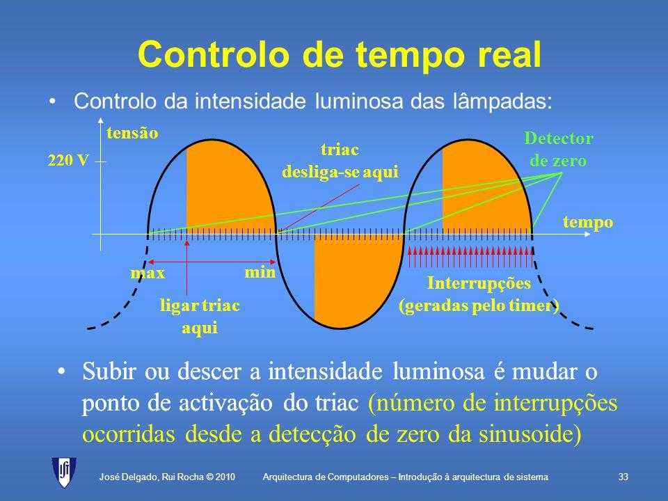 Arquitectura de Computadores – Introdução à arquitectura de sistema33 Controlo de tempo real Controlo da intensidade luminosa das lâmpadas: José Delgado, Rui Rocha © 2010 ligar triac aqui triac desliga-se aqui Interrupções (geradas pelo timer) Subir ou descer a intensidade luminosa é mudar o ponto de activação do triac (número de interrupções ocorridas desde a detecção de zero da sinusoide) Detector de zero max min Subir ou descer a intensidade luminosa é mudar o ponto de activação do triac tempo tensão 220 V