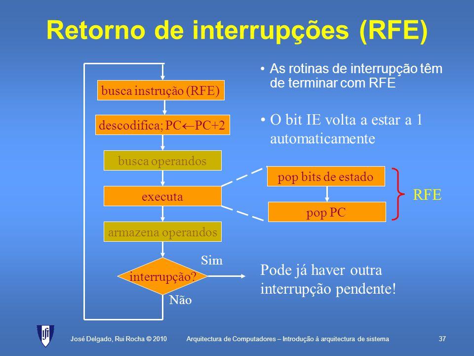 Arquitectura de Computadores – Introdução à arquitectura de sistema37 Retorno de interrupções (RFE) As rotinas de interrupção têm de terminar com RFE José Delgado, Rui Rocha © 2010 descodifica; PC PC+2 executa interrupção.