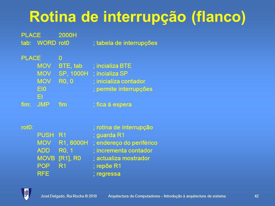 Arquitectura de Computadores – Introdução à arquitectura de sistema42 Rotina de interrupção (flanco) PLACE2000H tab:WORDrot0; tabela de interrupções PLACE0 MOVBTE, tab; incializa BTE MOVSP, 1000H; incializa SP MOVR0, 0; inicializa contador EI0; permite interrupções EI fim:JMPfim; fica à espera rot0:; rotina de interrupção PUSHR1; guarda R1 MOVR1, 8000H; endereço do periférico ADDR0, 1; incrementa contador MOVB[R1], R0; actualiza mostrador POPR1; repõe R1 RFE; regressa José Delgado, Rui Rocha © 2010