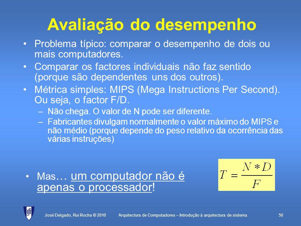 Arquitectura de Computadores – Introdução à arquitectura de sistema50 Avaliação do desempenho Problema típico: comparar o desempenho de dois ou mais computadores.