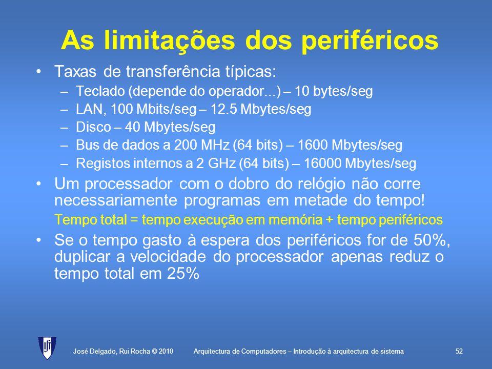 Arquitectura de Computadores – Introdução à arquitectura de sistema52 As limitações dos periféricos Taxas de transferência típicas: –Teclado (depende do operador...) – 10 bytes/seg –LAN, 100 Mbits/seg – 12.5 Mbytes/seg –Disco – 40 Mbytes/seg –Bus de dados a 200 MHz (64 bits) – 1600 Mbytes/seg –Registos internos a 2 GHz (64 bits) – 16000 Mbytes/seg Um processador com o dobro do relógio não corre necessariamente programas em metade do tempo.