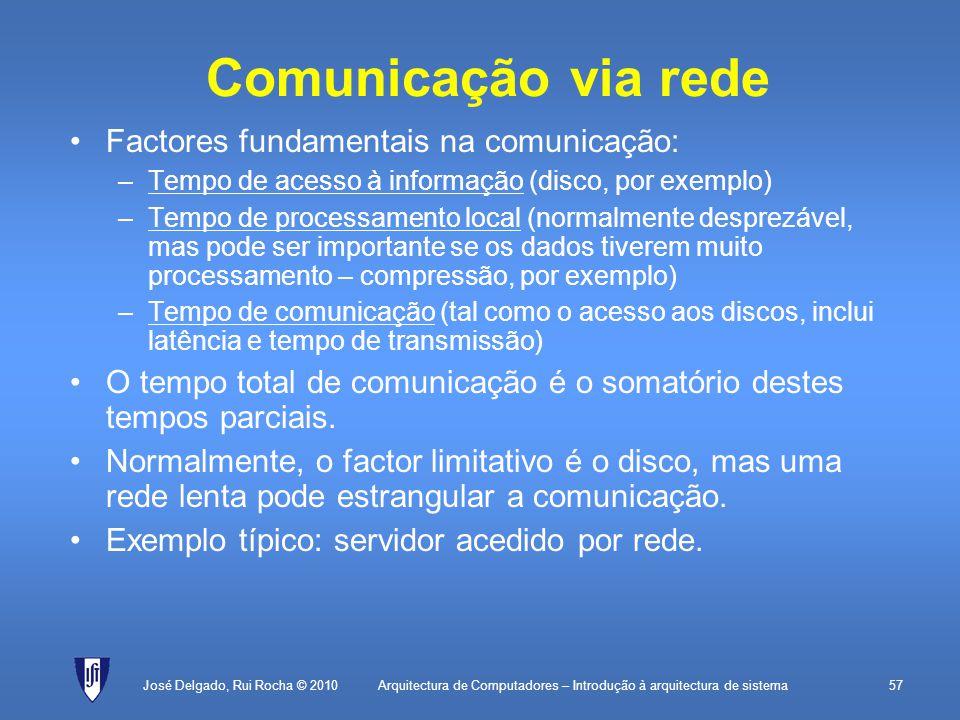 Arquitectura de Computadores – Introdução à arquitectura de sistema57 Comunicação via rede Factores fundamentais na comunicação: –Tempo de acesso à informação (disco, por exemplo) –Tempo de processamento local (normalmente desprezável, mas pode ser importante se os dados tiverem muito processamento – compressão, por exemplo) –Tempo de comunicação (tal como o acesso aos discos, inclui latência e tempo de transmissão) O tempo total de comunicação é o somatório destes tempos parciais.