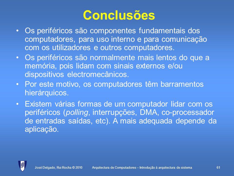 Arquitectura de Computadores – Introdução à arquitectura de sistema61 Conclusões Os periféricos são componentes fundamentais dos computadores, para uso interno e para comunicação com os utilizadores e outros computadores.