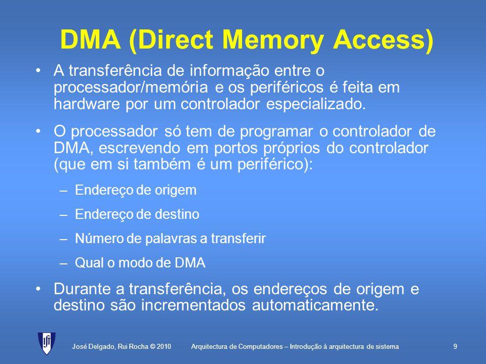 Arquitectura de Computadores – Introdução à arquitectura de sistema30 Interrupções José Delgado, Rui Rocha © 2010 Sensor Processador Memória Bus de endereços INT0 Bus de dados
