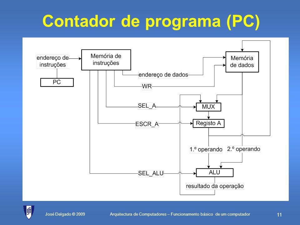 Arquitectura de Computadores – Funcionamento básico de um computador 10 Instruções com sinais de controlo José Delgado © 2009