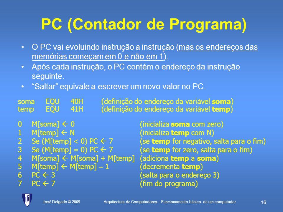 Arquitectura de Computadores – Funcionamento básico de um computador 15 Endereços de dados e de instruções As variáveis ficam na memórias de dados As
