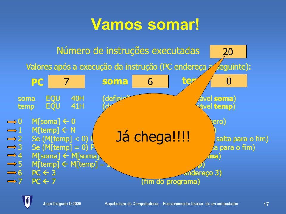 Arquitectura de Computadores – Funcionamento básico de um computador 16 PC (Contador de Programa) O PC vai evoluindo instrução a instrução (mas os end