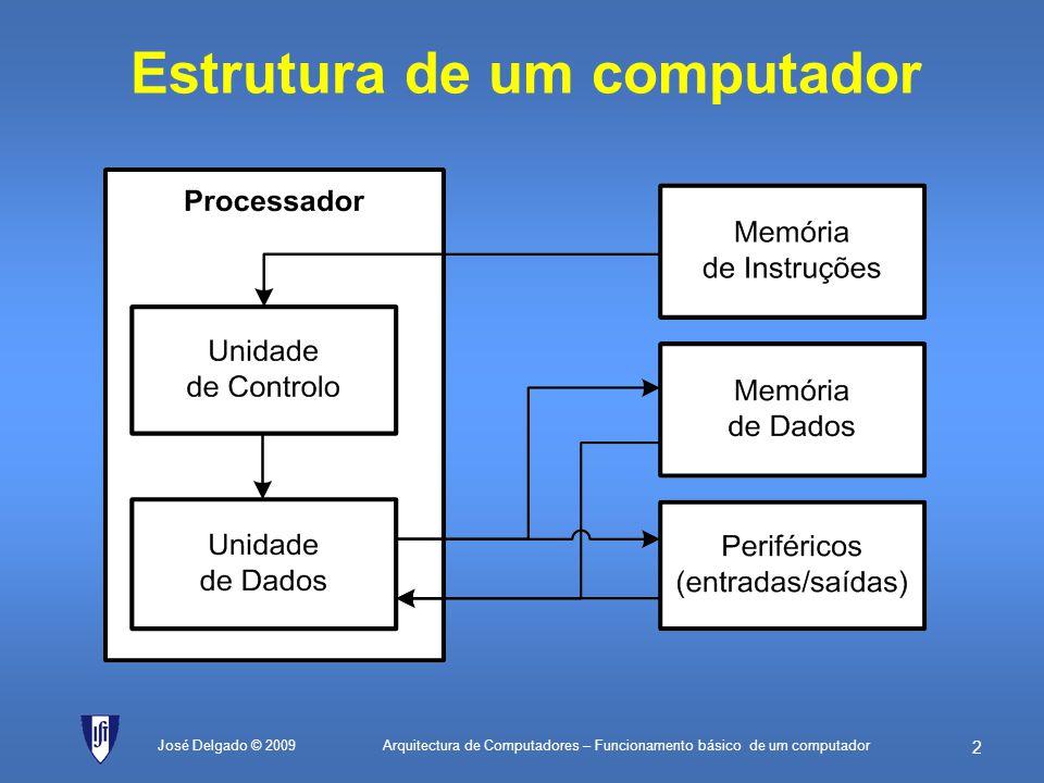 Arquitectura de Computadores – Funcionamento básico de um computador 52 José Delgado © 2009 valorEQU76H; valor cujo número de bits a 1 é para ser contado máscaraInicialEQU01H; 0000 0001 em binário (máscara inicial) máscaraFinalEQU80H; 1000 0000 em binário (máscara final) ; Utilização dos registos: ; A – valores intermédios ; B – valor actual do contador de bits a 1 ; C – valor actual da máscara contadorEQU00H; endereço da célula de memória que guardará ; o número de bits a 1 no fim da contagem início:MOVB, 0; Inicializa o contador de bits com zero MOVC, máscaraInicial; Inicializa registo C com valor da máscara inicial MOVA, C; coloca também a máscara inicial no registo A teste:ANDA, valor; isola o bit que se quer ver se é 1 JZpróximo; se o bit for zero, passa à máscara seguinte ADDB, 1; o bit é 1, incrementa o valor actual do contador próximo:CMPC, máscaraFinal; compara com a máscara final JZacaba; se forem iguais, já terminou ADDC, C; soma máscara com ela própria para a multiplicar por 2 JMPteste; vai fazer mais um teste com a nova máscara acaba:MOV[contador], B; se for necessário, pode armazenar o número ; de bits a 1 numa célula de memória fim:JMPfim; fim do programa Se houvesse 3 registos… Mais simples.