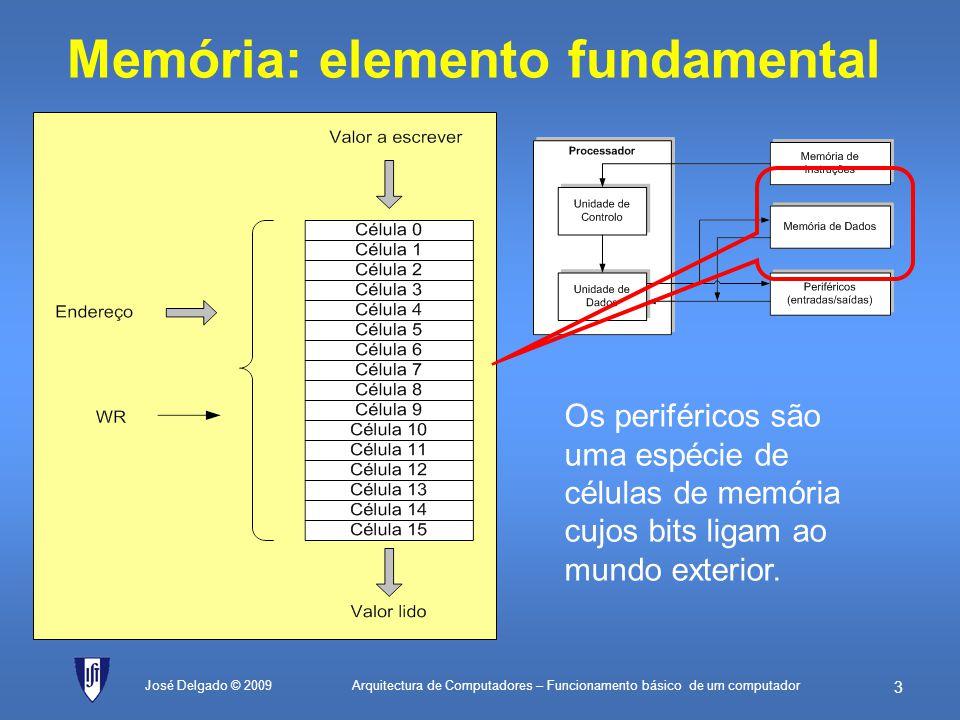 Arquitectura de Computadores – Funcionamento básico de um computador 43 José Delgado © 2009 Inicializa contador valorEQU76H; valor cujo número de bits a 1 é para ser contado máscaraInicialEQU01H; 0000 0001 em binário (máscara inicial) máscaraFinalEQU80H; 1000 0000 em binário (máscara final) contadorEQU00H; endereço da célula de memória que guarda ; o valor corrente do contador de bits a 1 máscaraEQU01H; endereço da célula de memória que guarda ; o valor corrente da máscara início:LD0; Inicializa o registo A a zero ST[contador]; Inicializa o contador de bits com zero LDmáscaraInicial; Carrega valor da máscara inicial ST[máscara]; actualiza na memória teste:ANDvalor; isola o bit que se quer ver se é 1 JZpróximo; se o bit for zero, passa à máscara seguinte LD[contador]; o bit é 1, vai buscar o valor actual do contador ADD1; incrementa-o ST[contador]; e actualiza de novo na memória próximo:LD[máscara]; vai buscar de novo a máscara actual SUBmáscaraFinal; compara com a máscara final, fazendo a subtracção JZfim; se der zero, eram iguais e portanto já terminou LD[máscara]; tem de carregar a máscara de novo ADD[máscara]; soma com ela própria para a multiplicar por 2 ST[máscara]; actualiza o valor da máscara na memória JMPteste; vai fazer mais um teste com a nova máscara fim:JMPfim; fim do programa 1.contador 0(inicializa contador de bits a zero) 2.máscara 01H(inicializa máscara a 0000 0001) 3.Se (máscara valor = 0) salta para 5(se o bit está a zero, passa ao próximo) 4.contador contador + 1(bit está a 1, incrementa contador) 5.Se (máscara = 80H) salta para 8(se já testou a última máscara, termina) 6.máscara máscara + máscara(duplica máscara para deslocar bit para a esquerda) 7.Salta para 3(vai testar o novo bit) 8.Salta para 8(fim do algoritmo)