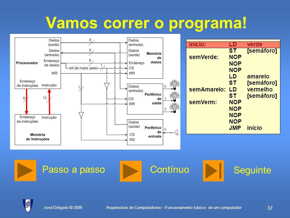 Arquitectura de Computadores – Funcionamento básico de um computador 36 Programa (cont.) José Delgado © 2009 ; constantes de dados vermelhoEQU01H; val