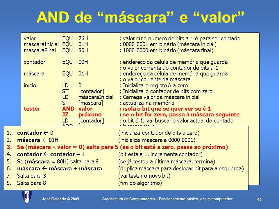 Arquitectura de Computadores – Funcionamento básico de um computador 44 José Delgado © 2009 Inicializa máscara valorEQU76H; valor cujo número de bits