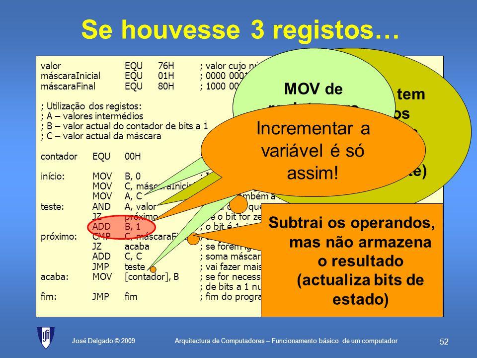 Arquitectura de Computadores – Funcionamento básico de um computador 51 José Delgado © 2009 Um só registo muitas instruções valorEQU76H; valor cujo nú