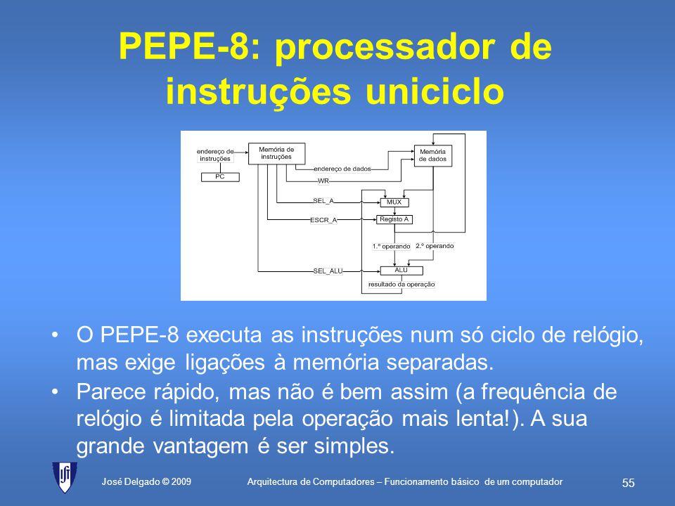 Arquitectura de Computadores – Funcionamento básico de um computador 54 José Delgado © 2009 A ilusão de memórias separadas As memórias comerciais só t