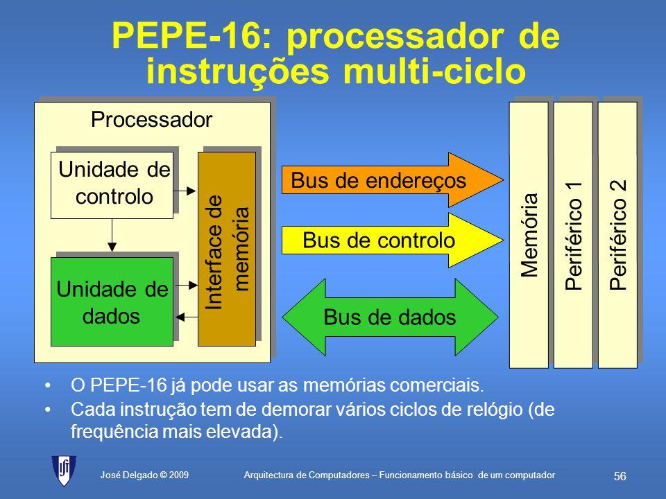 Arquitectura de Computadores – Funcionamento básico de um computador 55 José Delgado © 2009 PEPE-8: processador de instruções uniciclo O PEPE-8 execut