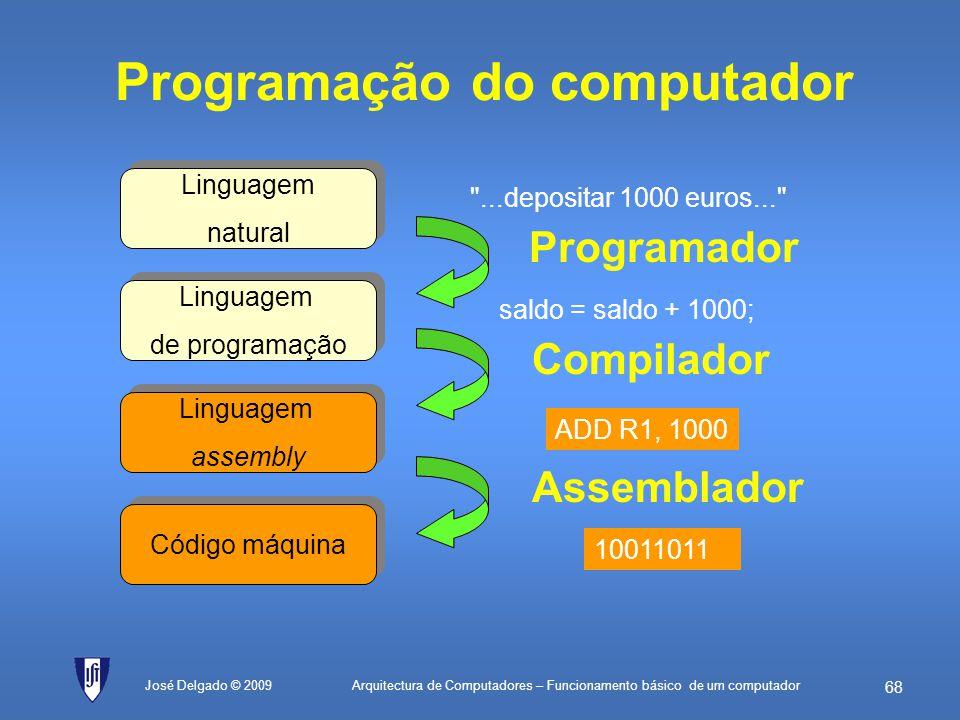 Arquitectura de Computadores – Funcionamento básico de um computador 67 José Delgado © 2009 Exercícios (cont.) 3.Um processador efectuou as seguintes