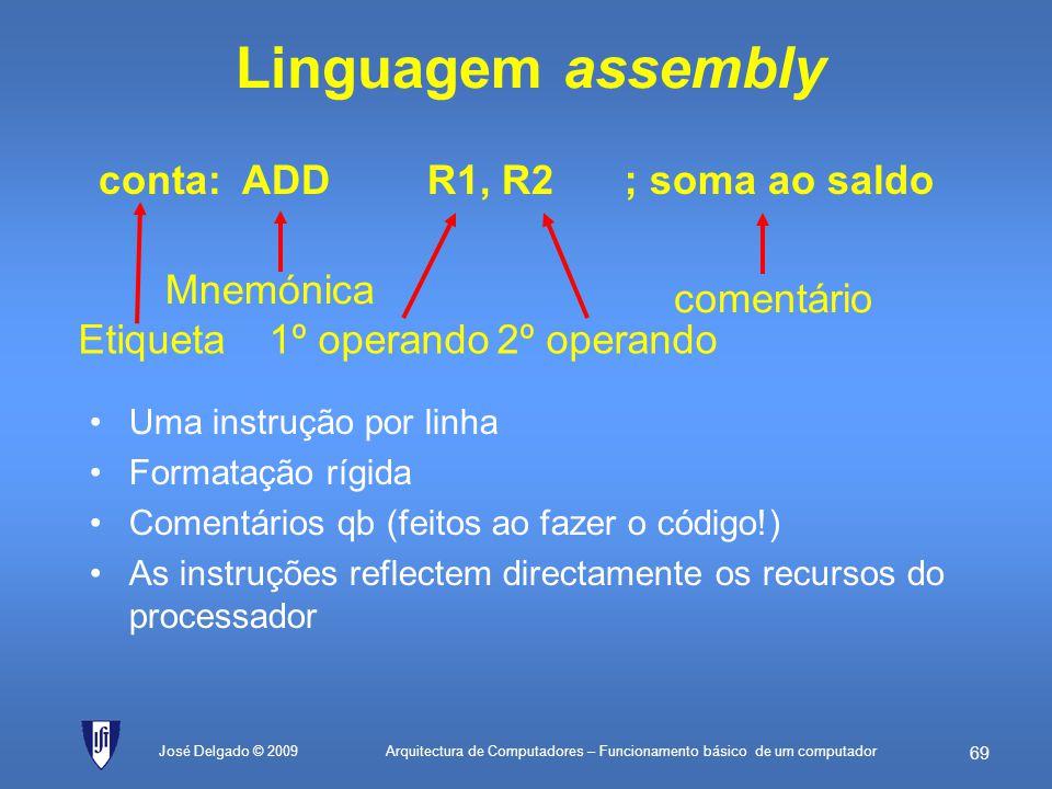 Arquitectura de Computadores – Funcionamento básico de um computador 68 José Delgado © 2009 Programação do computador Programador Compilador Assemblad
