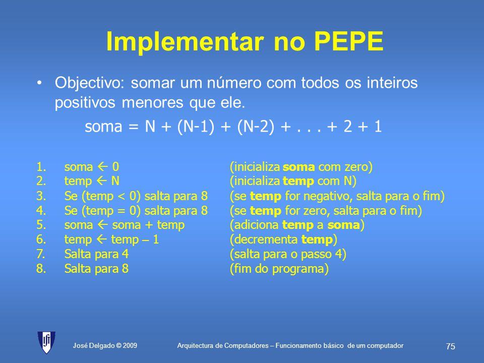 Arquitectura de Computadores – Funcionamento básico de um computador 74 José Delgado © 2009 Exemplo com o simulador ; Exemplos de instruções simples n