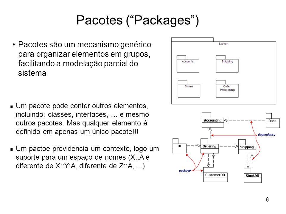 6 Pacotes (Packages) Pacotes são um mecanismo genérico para organizar elementos em grupos, facilitando a modelação parcial do sistema Um pacote pode c