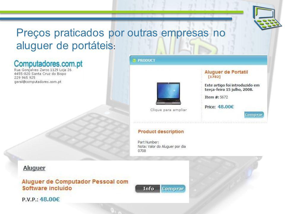 Preços praticados por outras empresas no aluguer de portáteis :