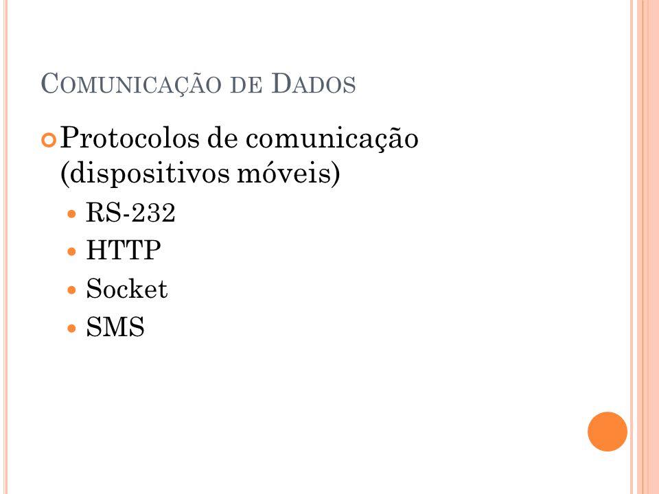 C OMUNICAÇÃO DE D ADOS Protocolos de comunicação (dispositivos móveis) RS-232 HTTP Socket SMS