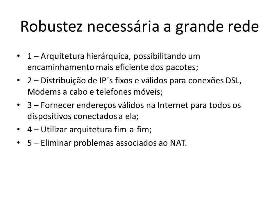 Robustez necessária a grande rede 1 – Arquitetura hierárquica, possibilitando um encaminhamento mais eficiente dos pacotes; 2 – Distribuição de IP´s fixos e válidos para conexões DSL, Modems a cabo e telefones móveis; 3 – Fornecer endereços válidos na Internet para todos os dispositivos conectados a ela; 4 – Utilizar arquitetura fim-a-fim; 5 – Eliminar problemas associados ao NAT.