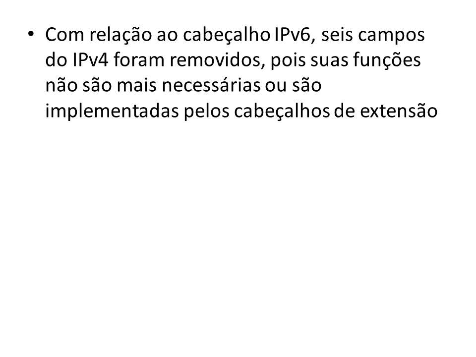 Com relação ao cabeçalho IPv6, seis campos do IPv4 foram removidos, pois suas funções não são mais necessárias ou são implementadas pelos cabeçalhos de extensão