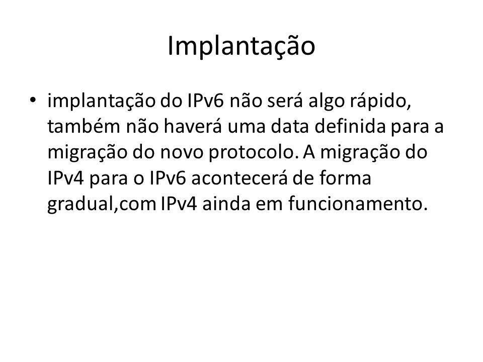 Endereçamento O endereçamento no IPv6 é de 128 its, e inclui prefixo de rede e sufixo de host.