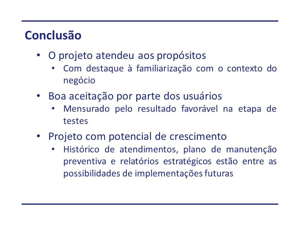 Conclusão O projeto atendeu aos propósitos Com destaque à familiarização com o contexto do negócio Boa aceitação por parte dos usuários Mensurado pelo