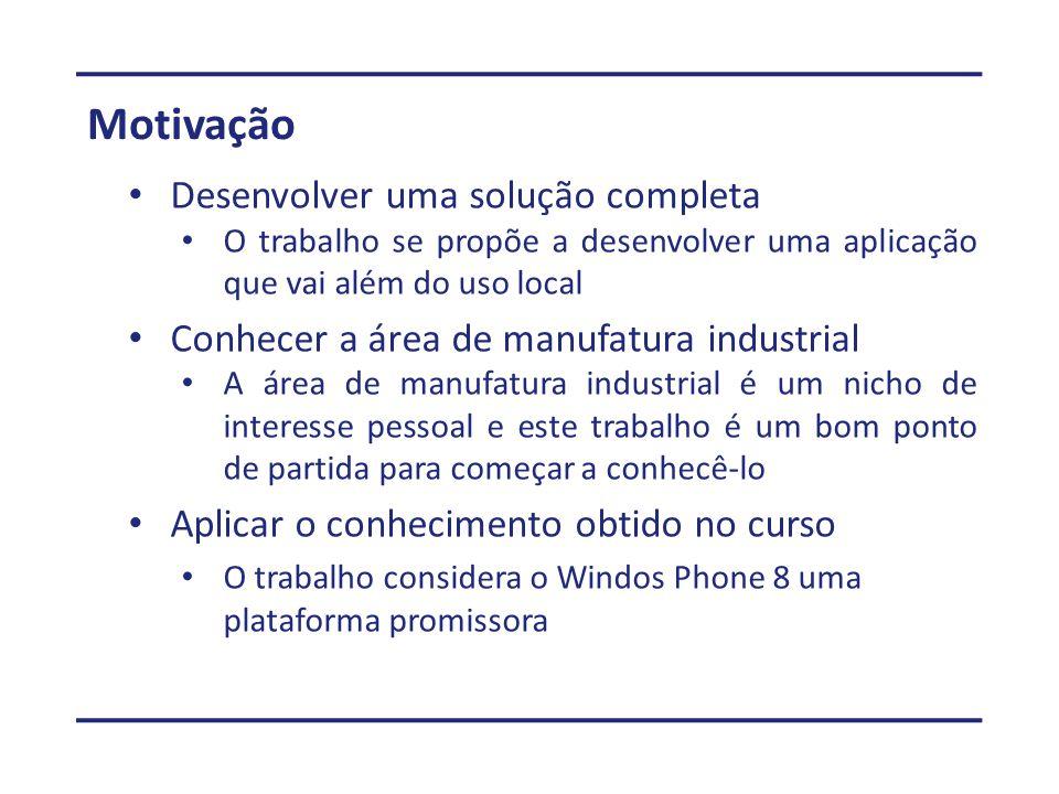 Motivação Desenvolver uma solução completa O trabalho se propõe a desenvolver uma aplicação que vai além do uso local Conhecer a área de manufatura in