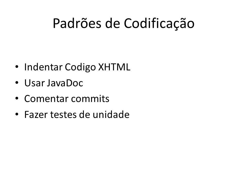 Padrões de Codificação Indentar Codigo XHTML Usar JavaDoc Comentar commits Fazer testes de unidade