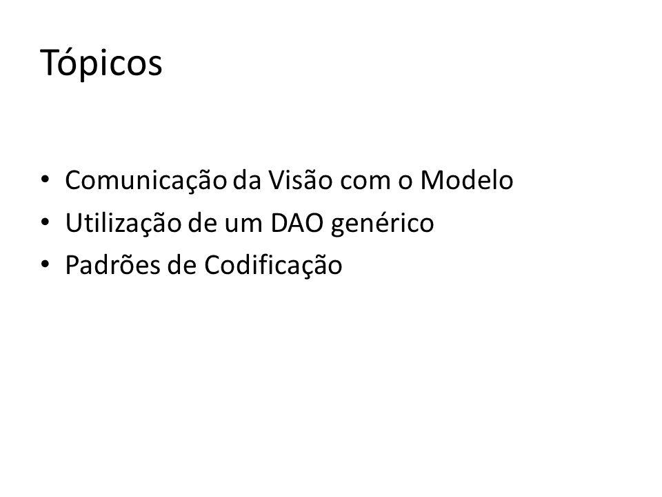 Tópicos Comunicação da Visão com o Modelo Utilização de um DAO genérico Padrões de Codificação