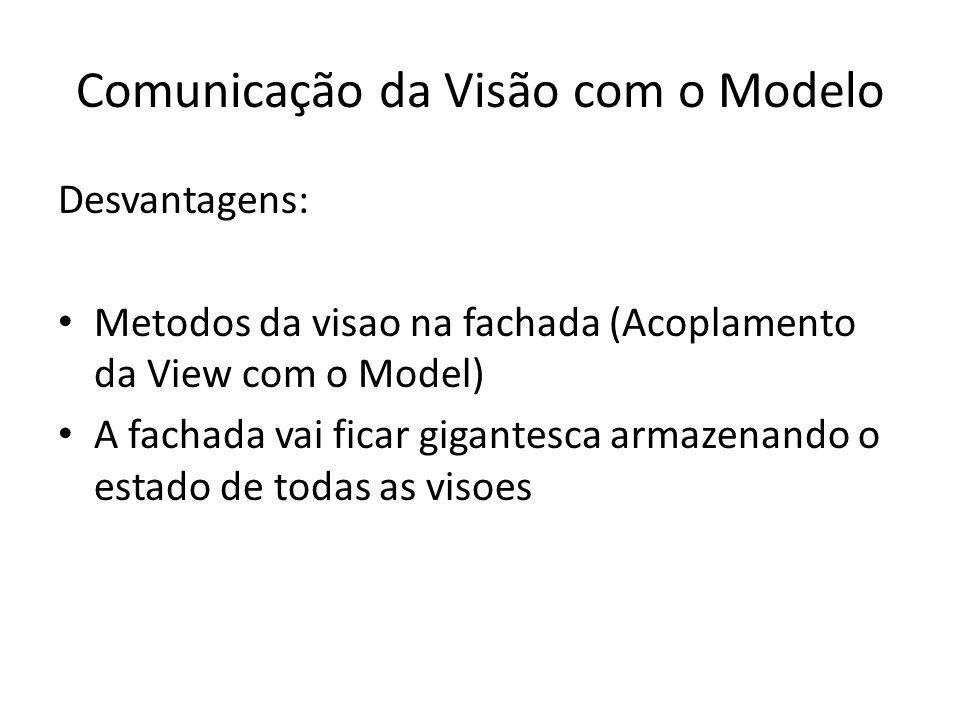 Comunicação da Visão com o Modelo Desvantagens: Metodos da visao na fachada (Acoplamento da View com o Model) A fachada vai ficar gigantesca armazenan