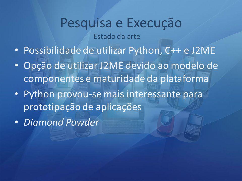 Possibilidade de utilizar Python, C++ e J2ME Opção de utilizar J2ME devido ao modelo de componentes e maturidade da plataforma Python provou-se mais interessante para prototipação de aplicações Diamond Powder Estado da arte