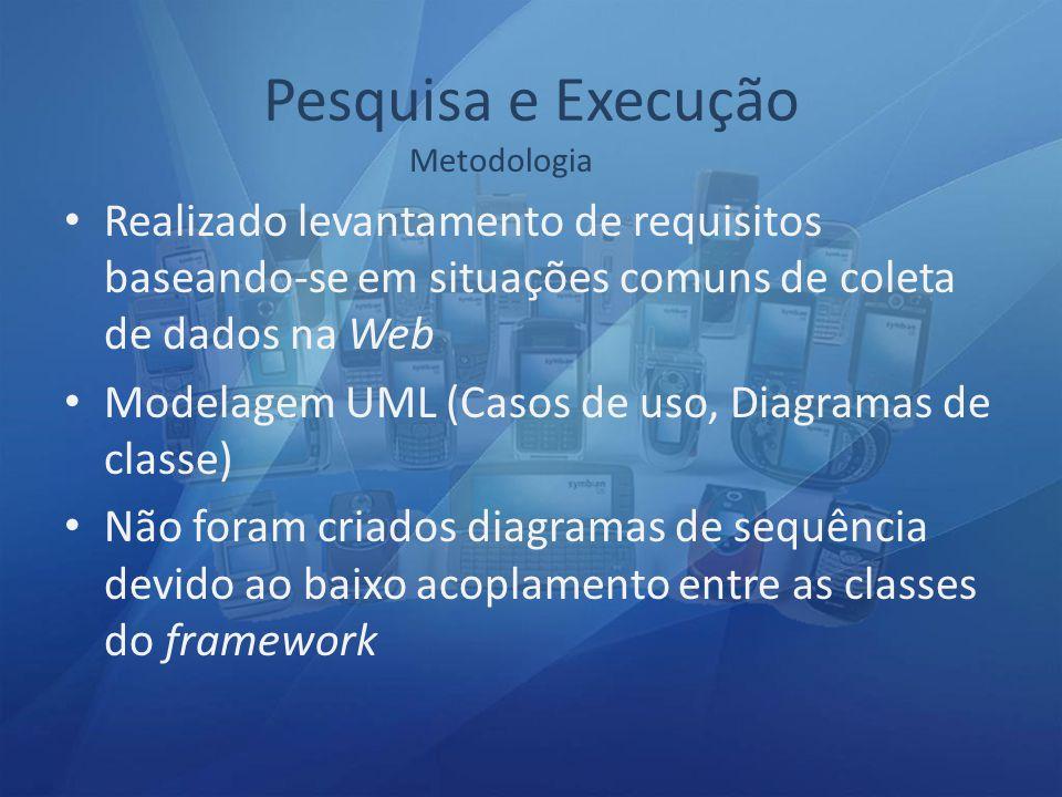 Pesquisa e Execução Realizado levantamento de requisitos baseando-se em situações comuns de coleta de dados na Web Modelagem UML (Casos de uso, Diagramas de classe) Não foram criados diagramas de sequência devido ao baixo acoplamento entre as classes do framework Metodologia