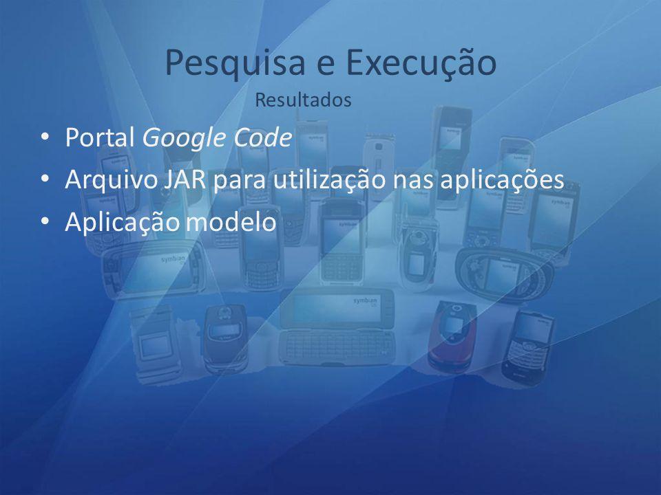 Pesquisa e Execução Portal Google Code Arquivo JAR para utilização nas aplicações Aplicação modelo Resultados