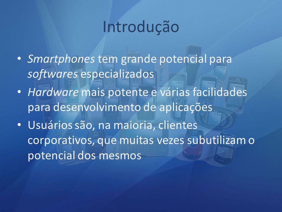 Smartphones tem grande potencial para softwares especializados Hardware mais potente e várias facilidades para desenvolvimento de aplicações Usuários