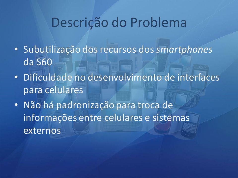 Subutilização dos recursos dos smartphones da S60 Dificuldade no desenvolvimento de interfaces para celulares Não há padronização para troca de informações entre celulares e sistemas externos